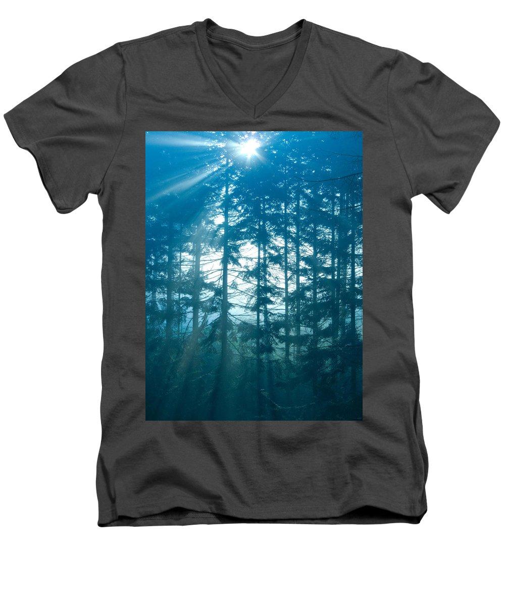 Nature Men's V-Neck T-Shirt featuring the photograph Mystic Light by Daniel Csoka