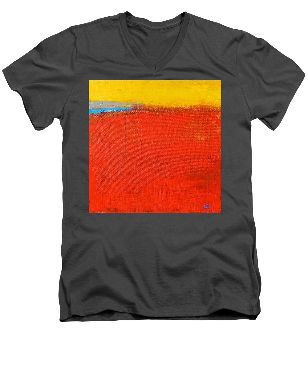 Landscape Men's V-Neck T-Shirt featuring the painting Nature Rouge by Habib Ayat