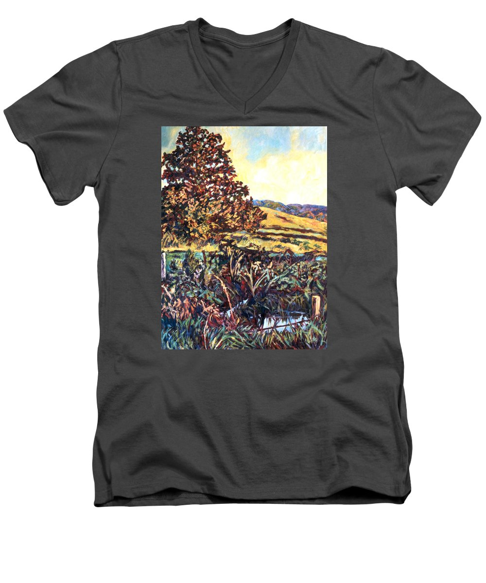 Landscape Men's V-Neck T-Shirt featuring the painting Near Childress by Kendall Kessler