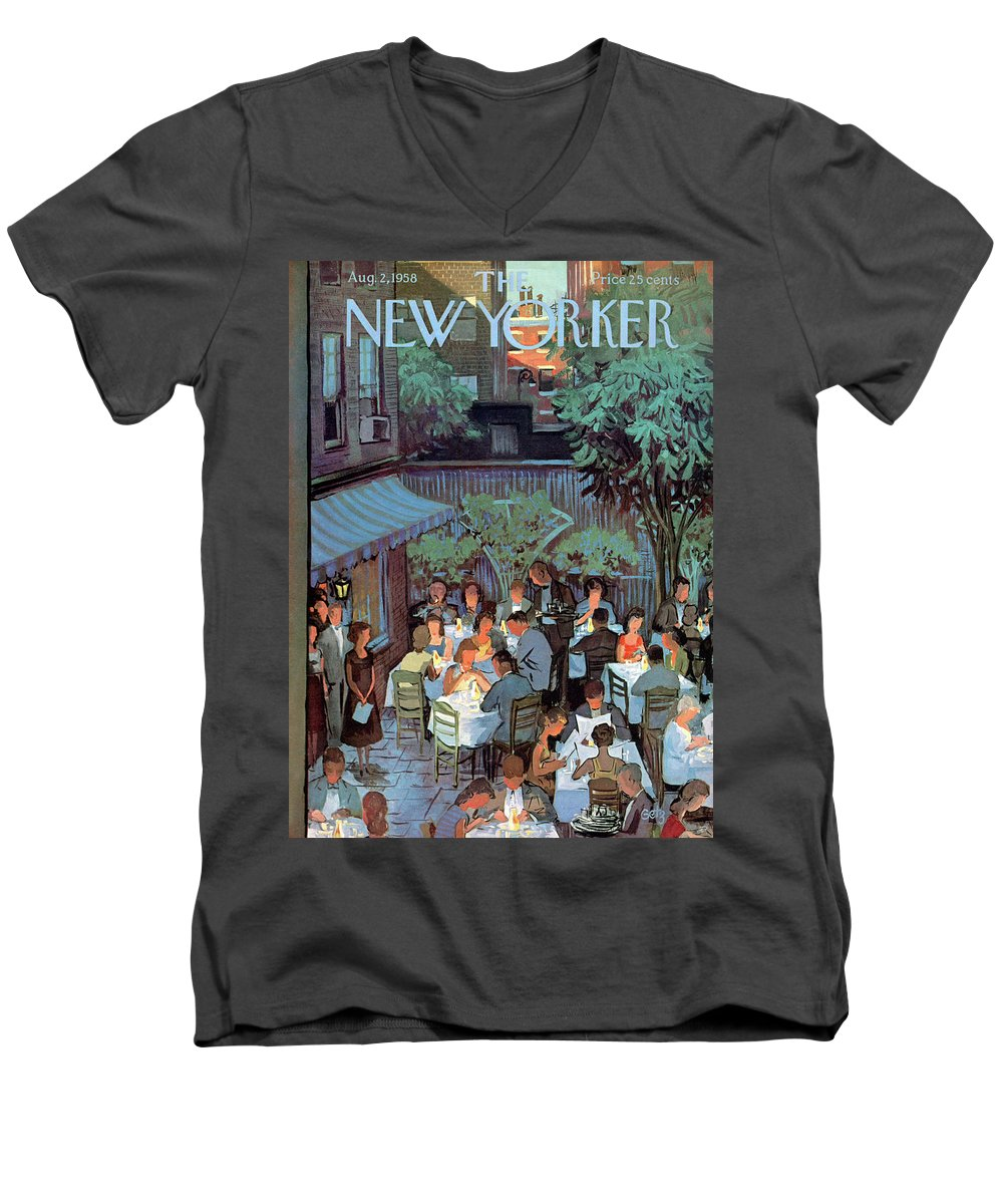 Arthur Getz Agt Men's V-Neck T-Shirt featuring the painting New Yorker August 2nd, 1958 by Arthur Getz