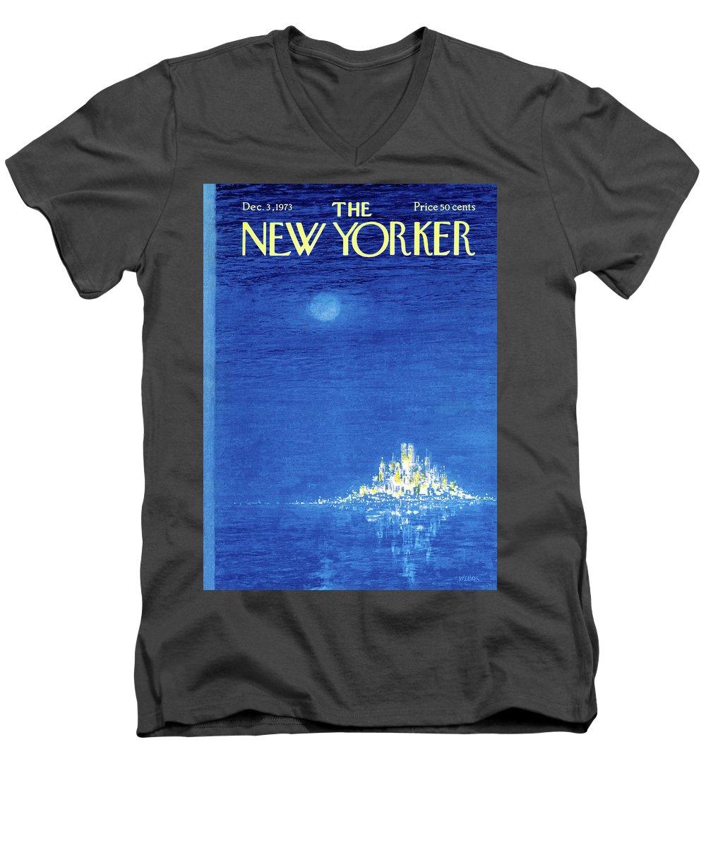 Robert Weber Men's V-Neck T-Shirt featuring the painting New Yorker December 3rd, 1973 by Robert Weber