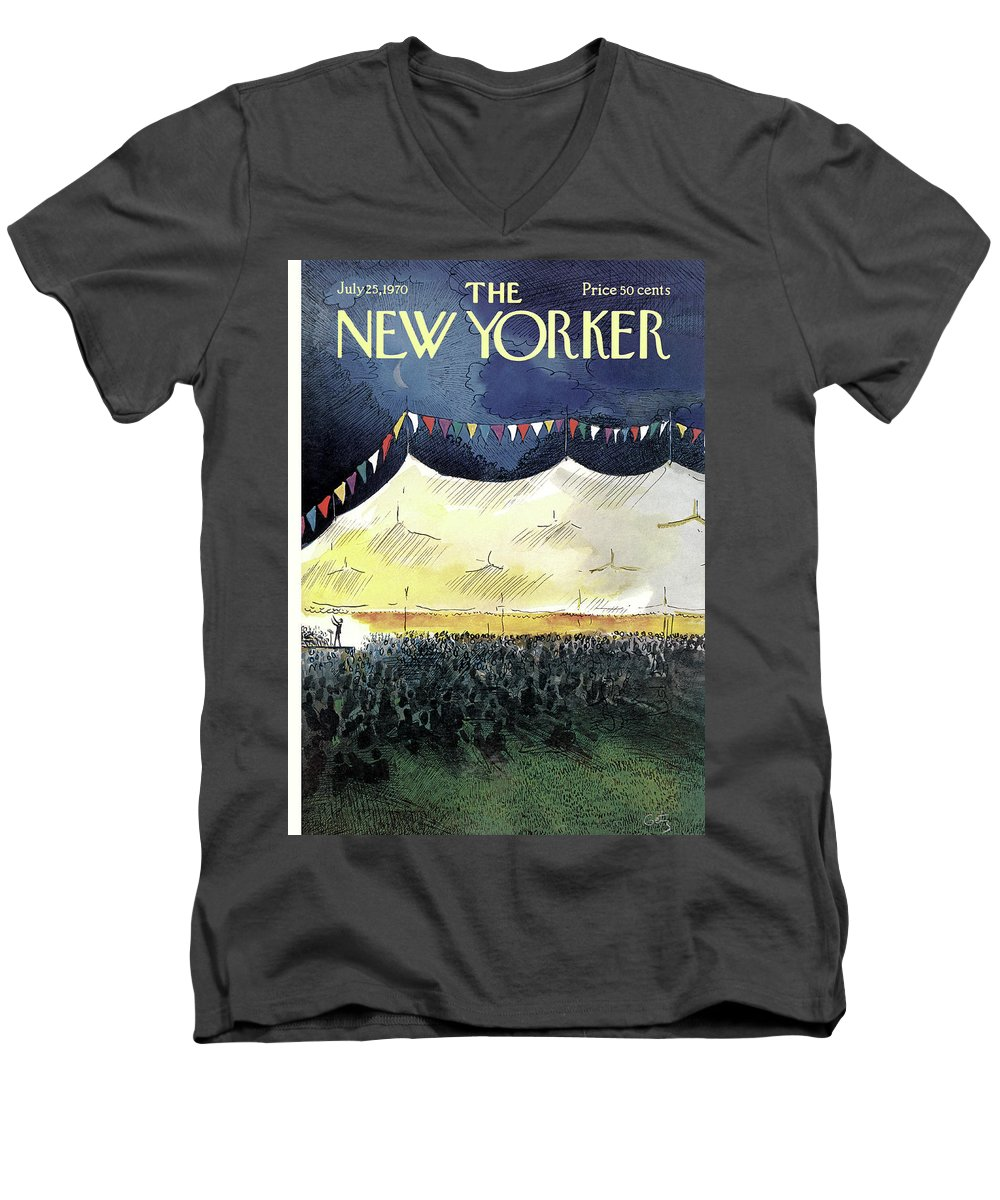 Arthur Getz Agt Men's V-Neck T-Shirt featuring the painting New Yorker July 25th, 1970 by Arthur Getz