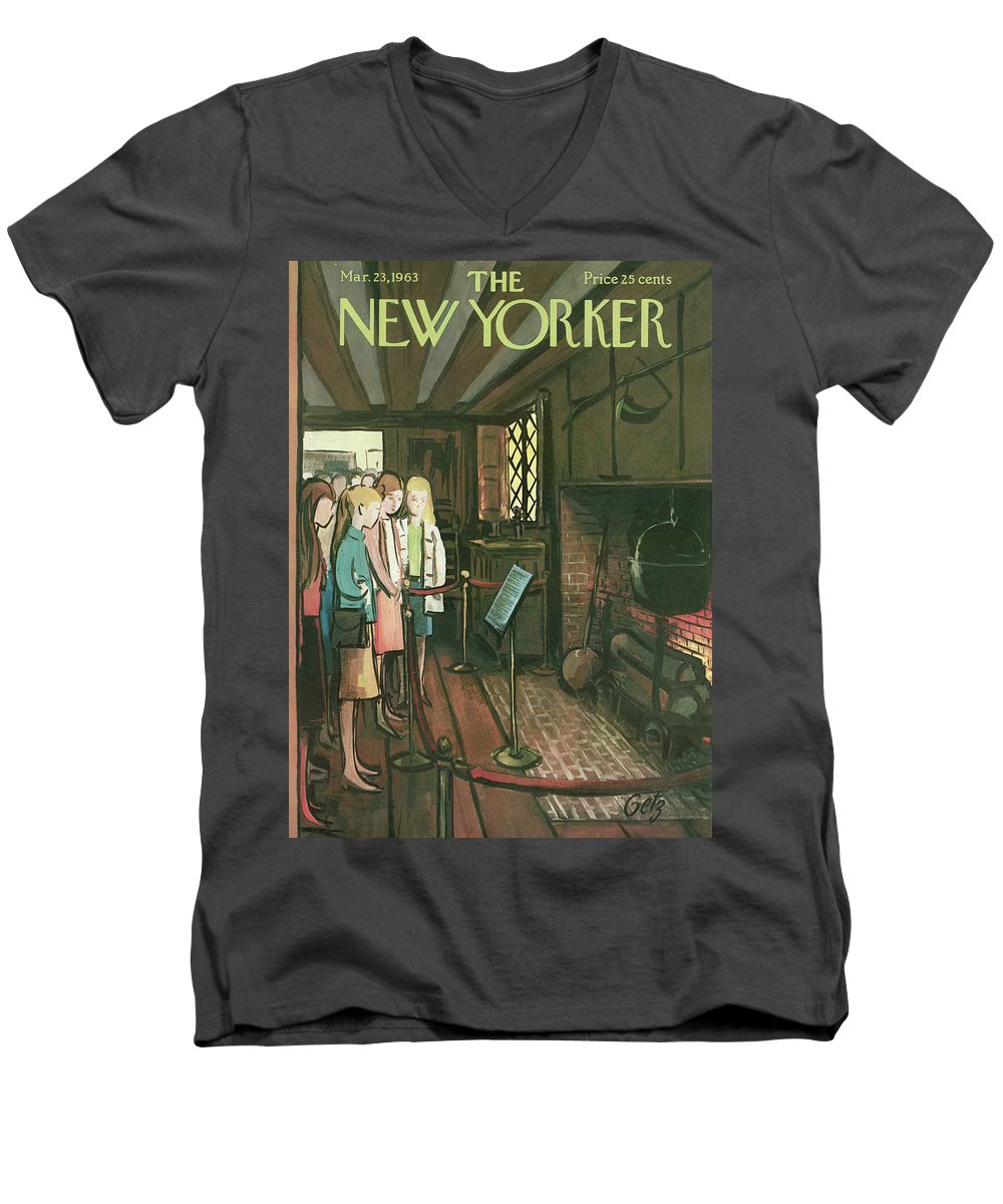 Tour Men's V-Neck T-Shirt featuring the painting New Yorker March 23rd, 1963 by Arthur Getz