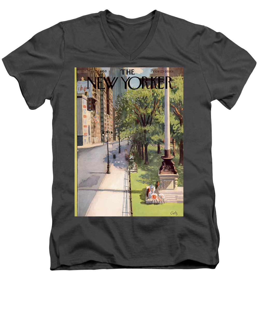 Arthur Getz Agt Men's V-Neck T-Shirt featuring the painting New Yorker May 31st, 1958 by Arthur Getz