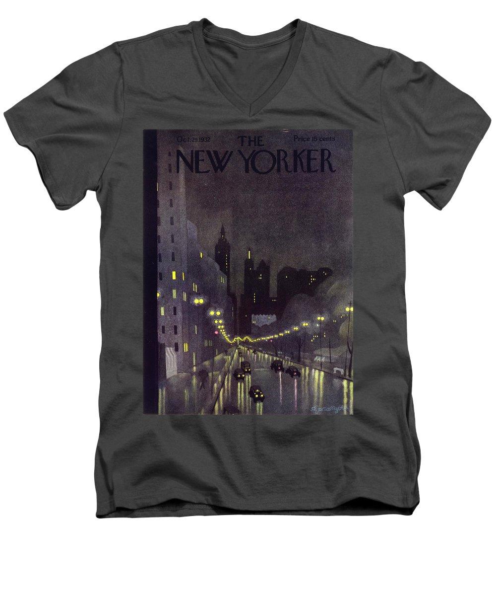 Illustration Men's V-Neck T-Shirt featuring the painting New Yorker October 29 1932 by Arthur K Kronengold
