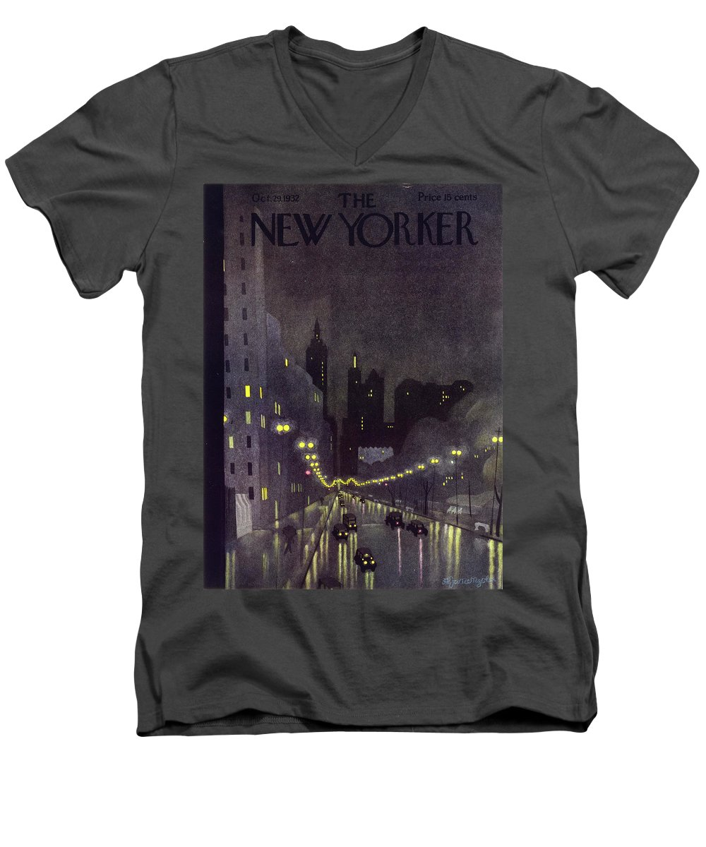 Illustration Men's V-Neck T-Shirt featuring the painting New Yorker October 29 1932 by Arthur K. Kronengold