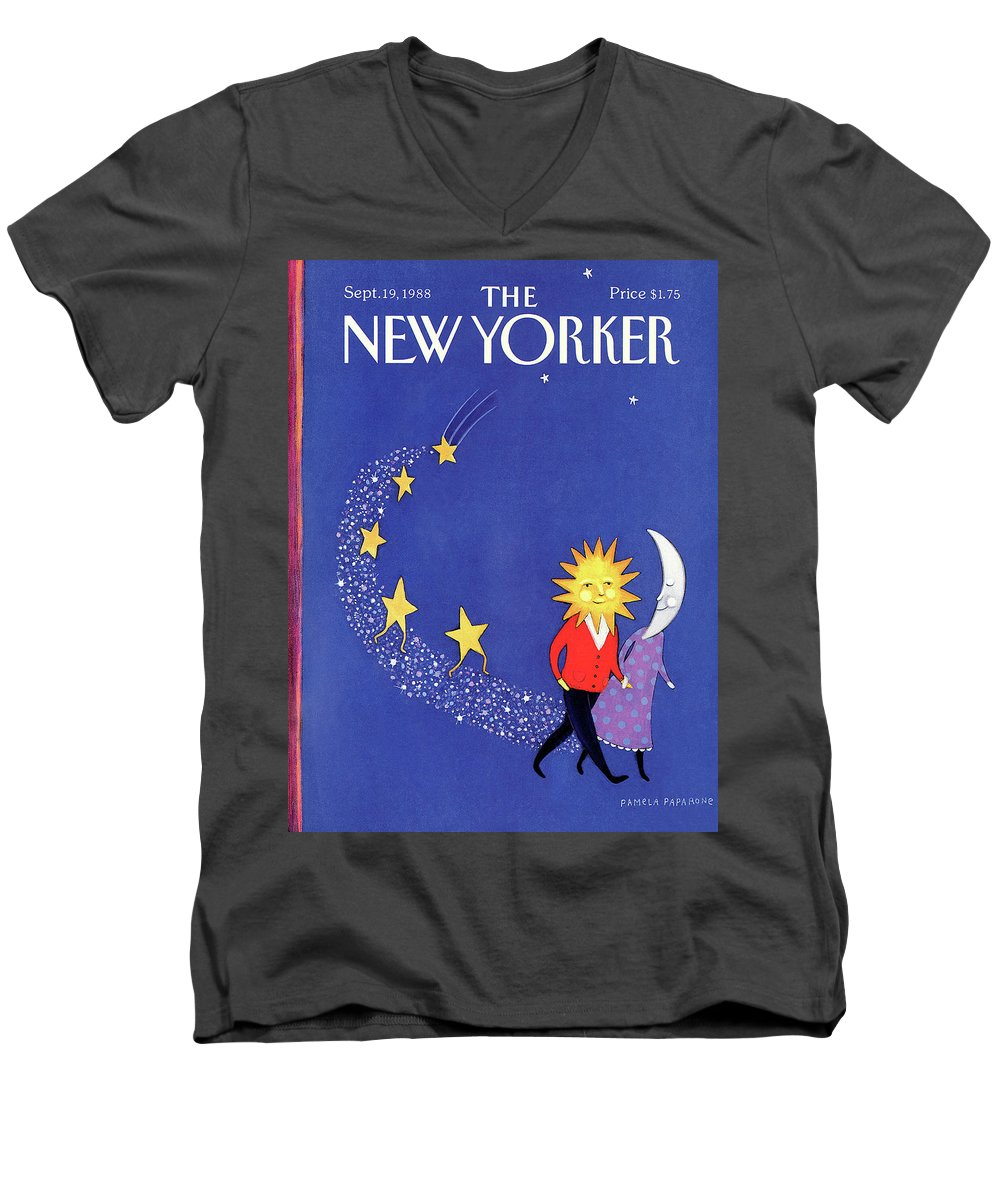 Night Men's V-Neck T-Shirt featuring the painting New Yorker September 19th, 1988 by Pamela Paparone