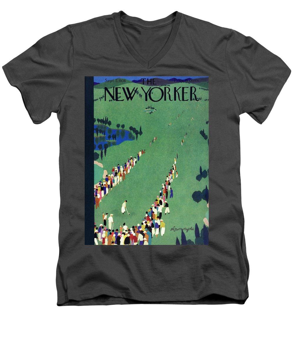 Sport Men's V-Neck T-Shirt featuring the painting New Yorker September 5 1936 by Arthur K Kronengold