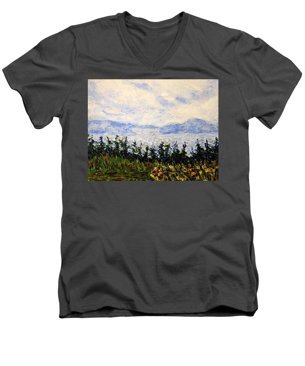 Newfoundland Men's V-Neck T-Shirt featuring the painting Newfoundland Up The West Coast by Ian MacDonald