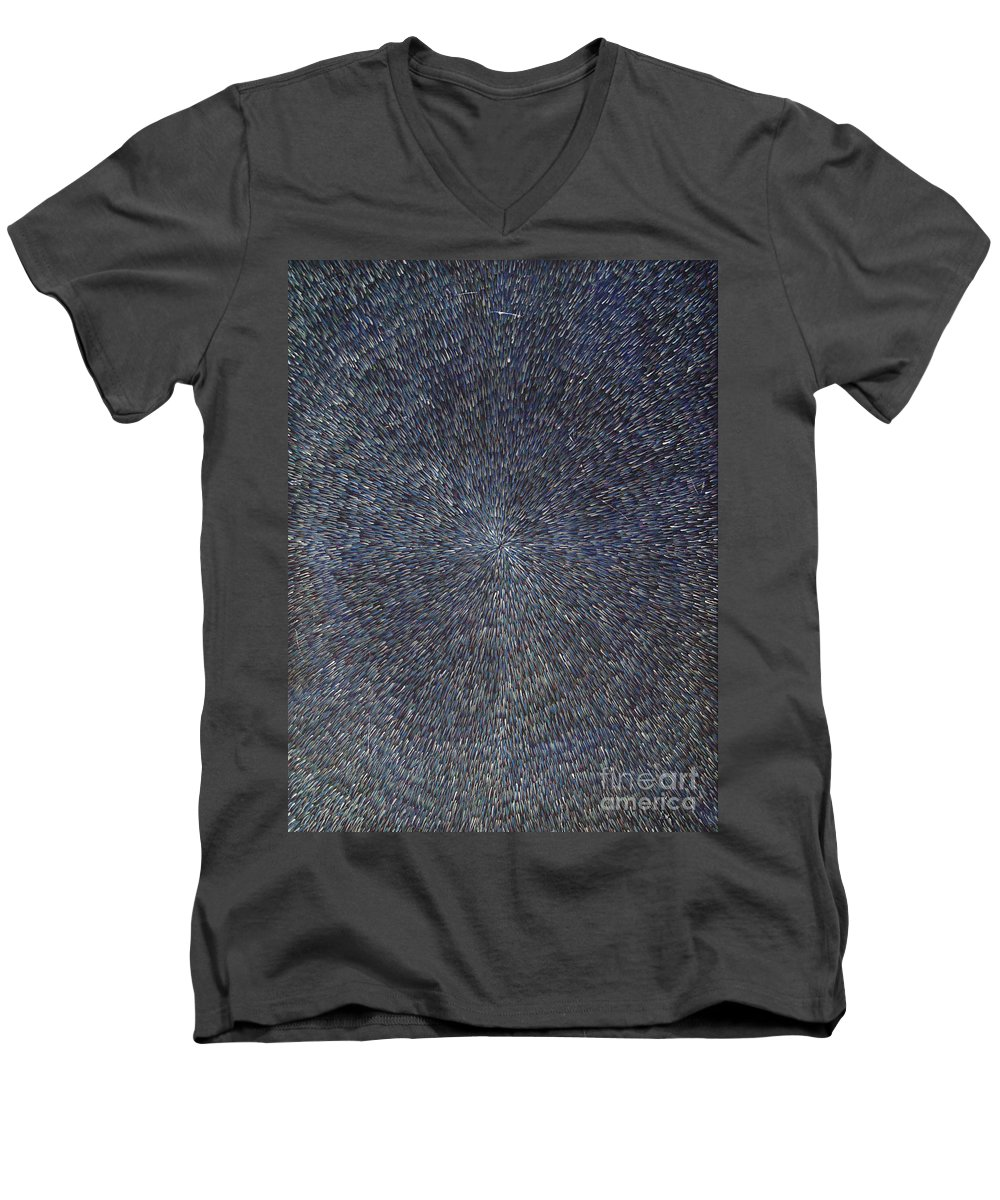 Abstract Men's V-Neck T-Shirt featuring the painting Night Radiation by Dean Triolo