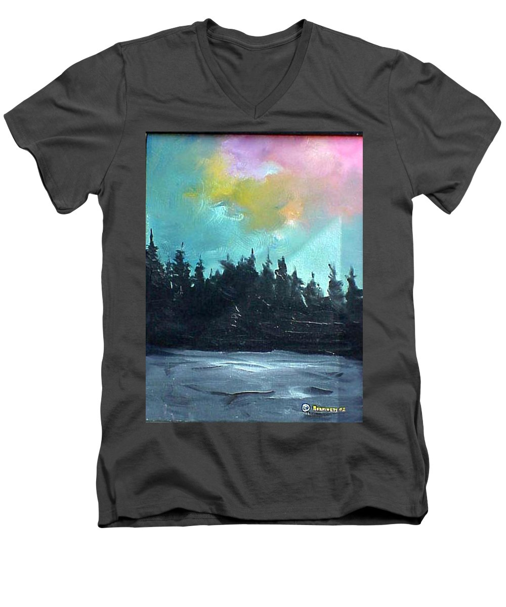 Landscape Men's V-Neck T-Shirt featuring the painting Night River by Sergey Bezhinets