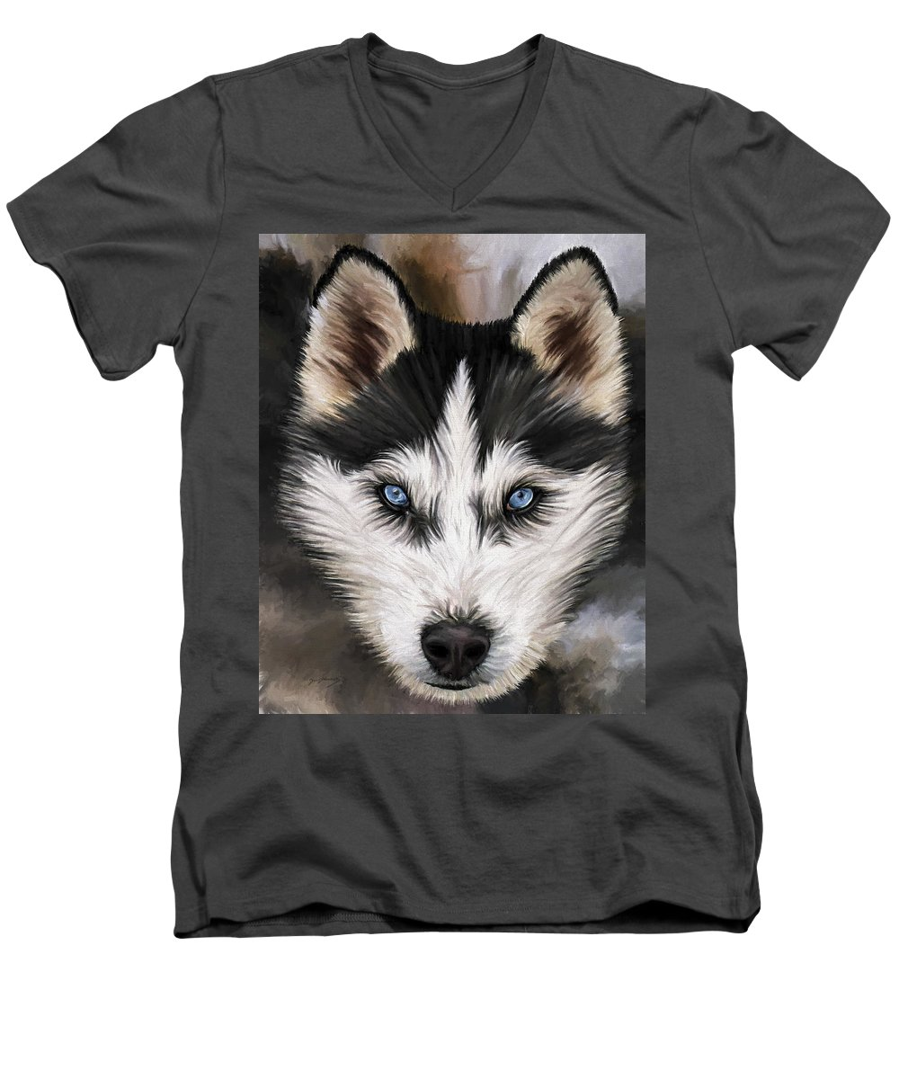 Dog Art Men's V-Neck T-Shirt featuring the painting Nikki by David Wagner