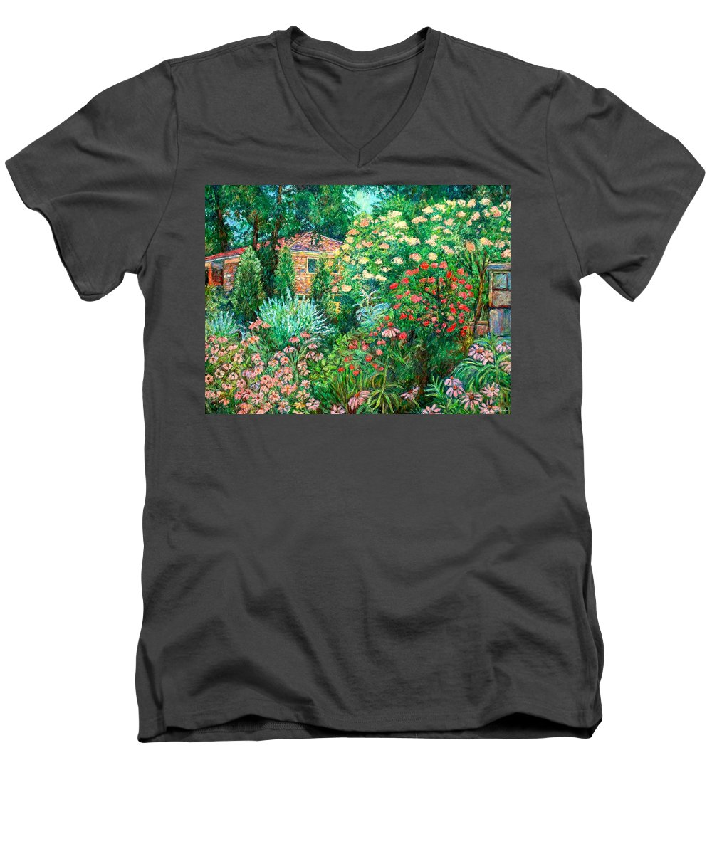 Garden Men's V-Neck T-Shirt featuring the painting North Albemarle In Mclean Va by Kendall Kessler