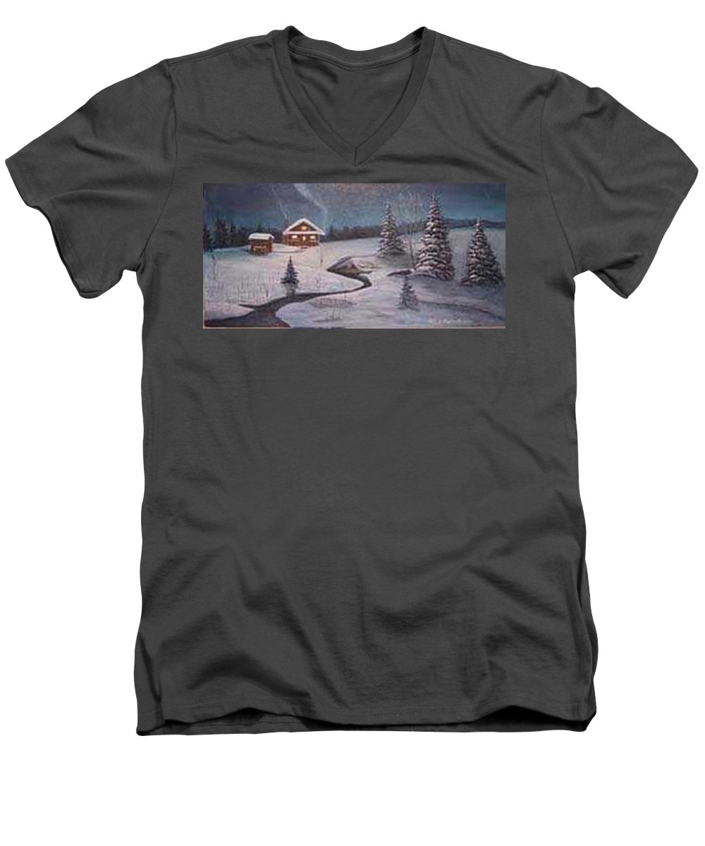 Rick Huotari Men's V-Neck T-Shirt featuring the painting North Woods Cabin by Rick Huotari