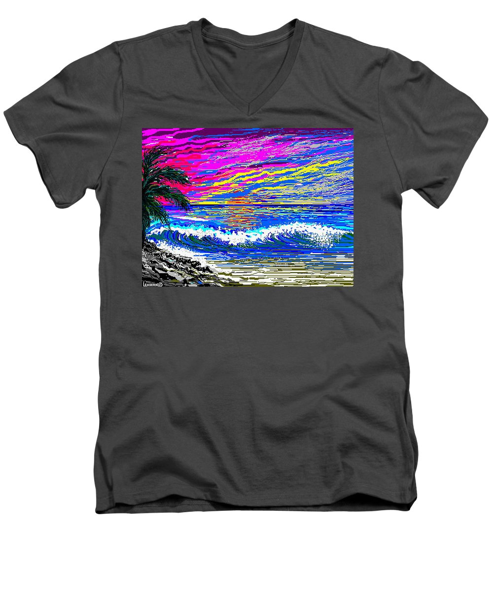 Ocean Sunset Quickly Sketched In One Hour. Men's V-Neck T-Shirt featuring the digital art Ocean Sunset by Larry Lehman