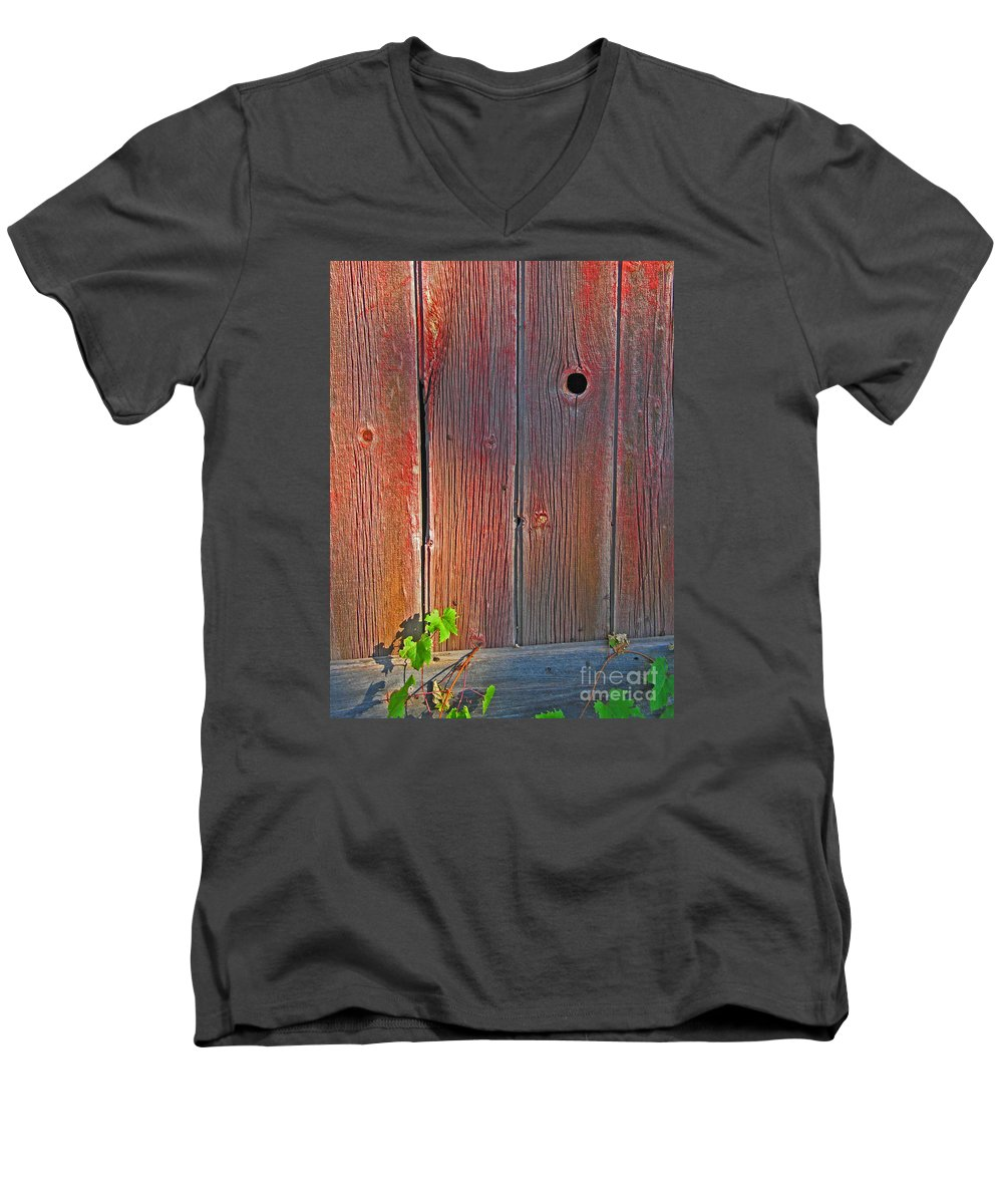 Barn Men's V-Neck T-Shirt featuring the photograph Old Barn Wood by Ann Horn