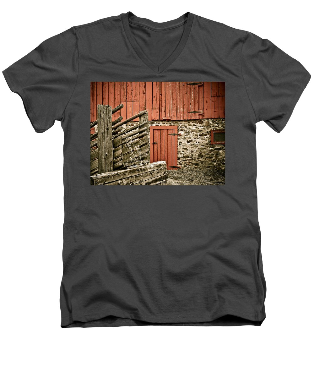 Old Men's V-Neck T-Shirt featuring the photograph Old Wood by Marilyn Hunt