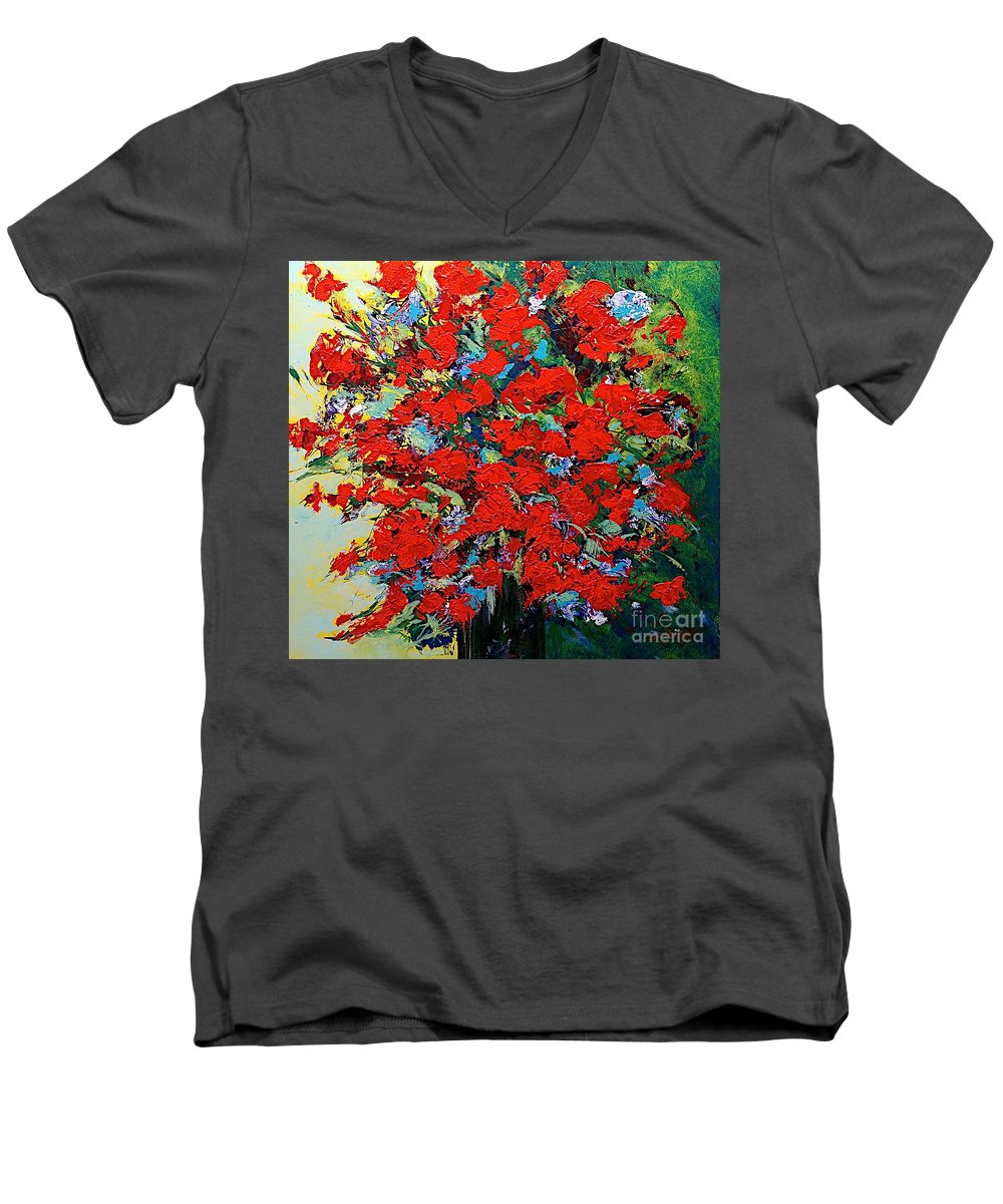 Landscape Men's V-Neck T-Shirt featuring the painting One Of A Kind by Allan P Friedlander