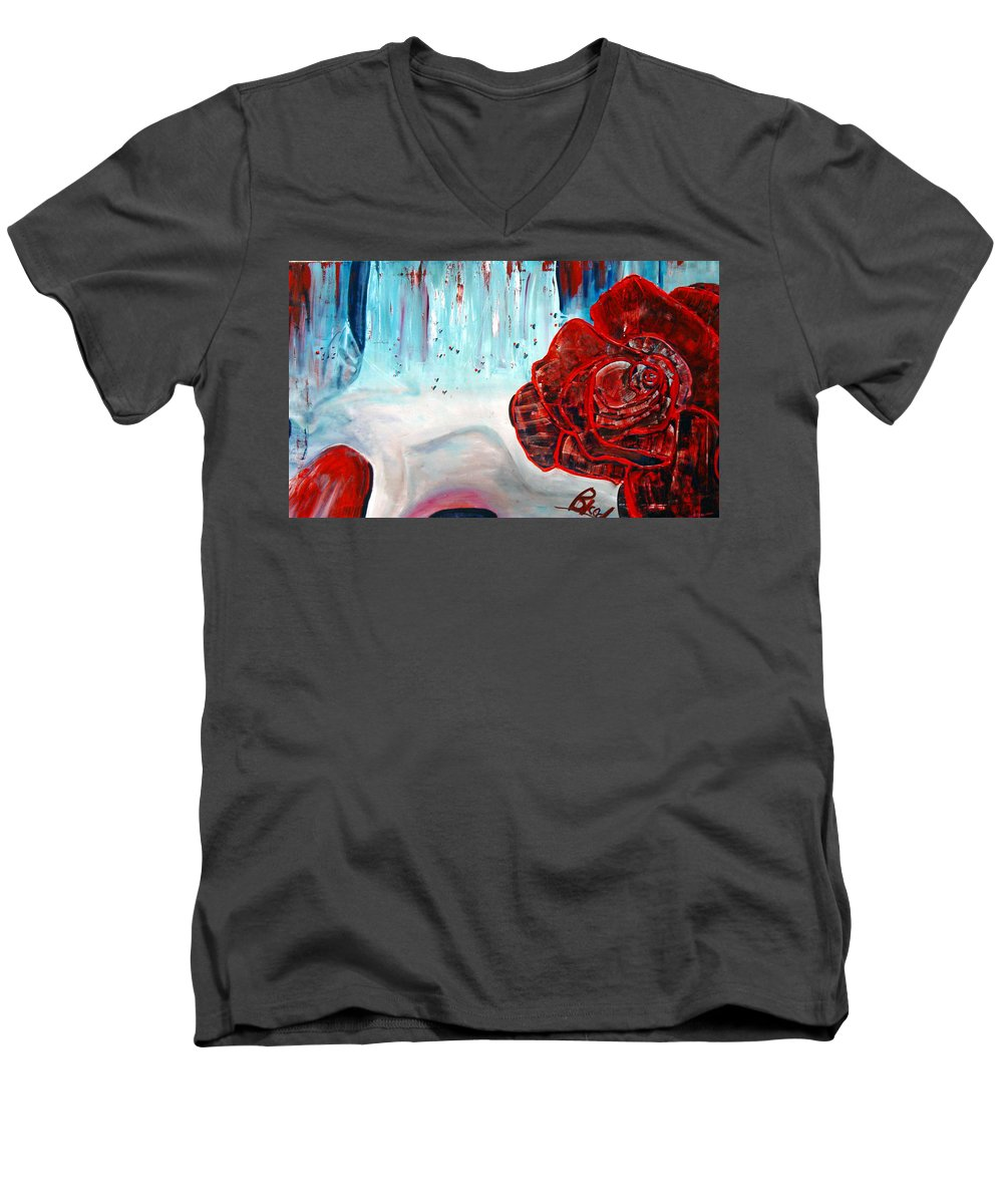 Landscape Men's V-Neck T-Shirt featuring the painting Op And Rose by Peggy Blood