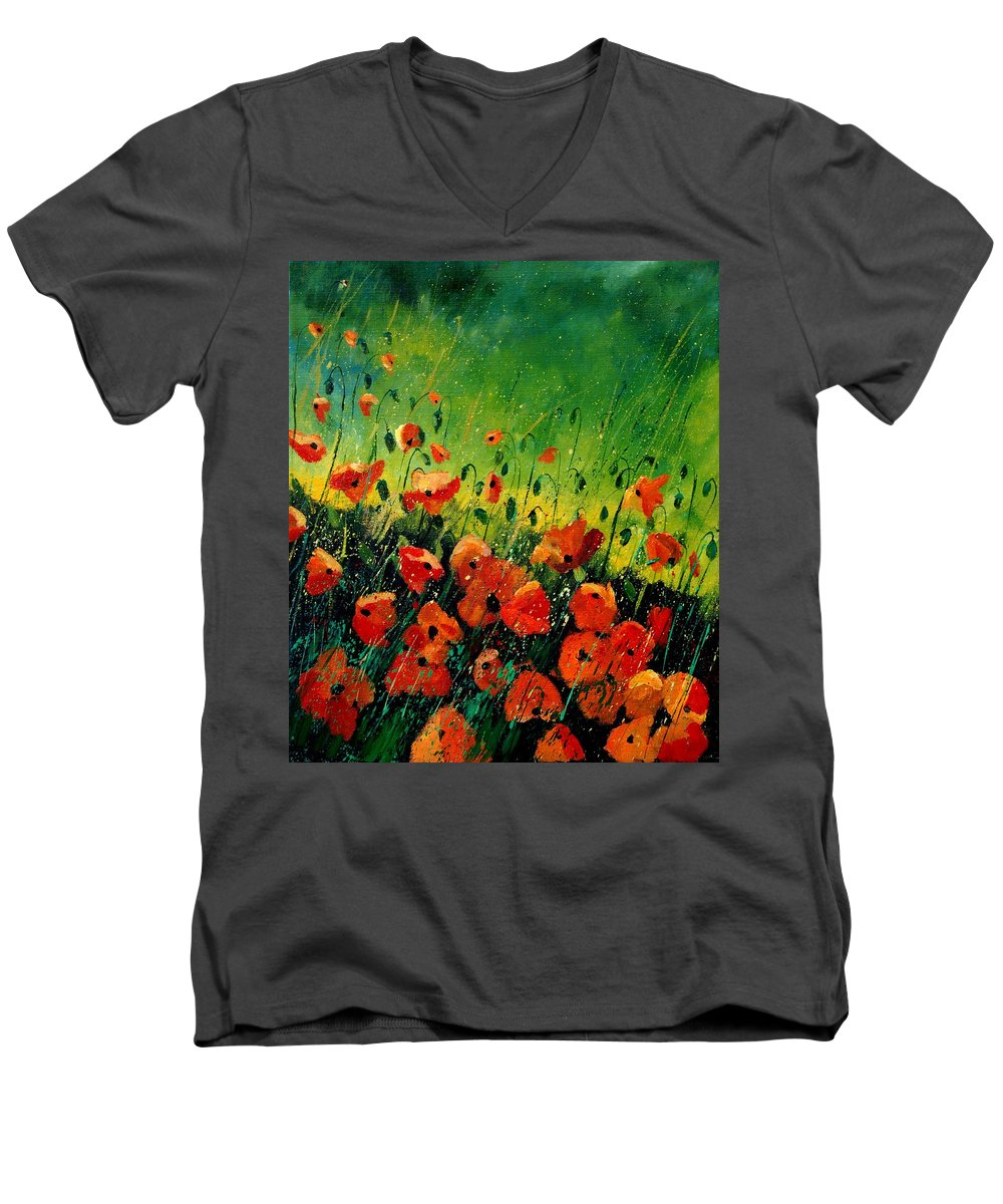 Poppies Men's V-Neck T-Shirt featuring the painting Orange Poppies by Pol Ledent