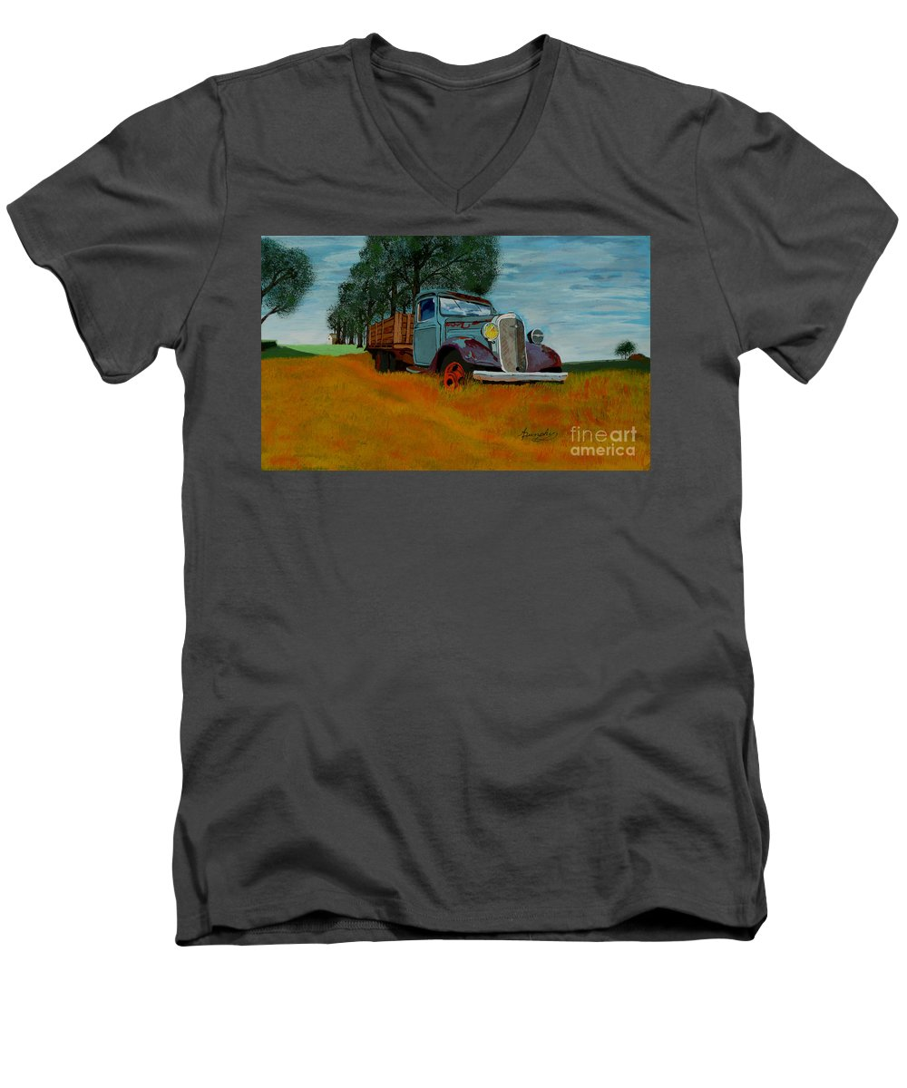 Truck Men's V-Neck T-Shirt featuring the painting Out To Pasture by Anthony Dunphy