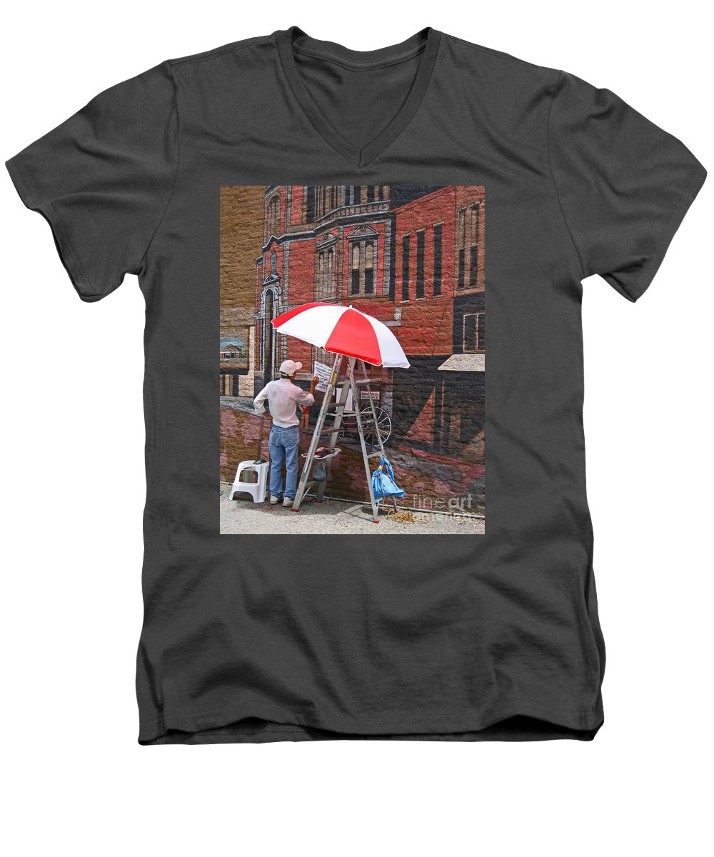 Artist Men's V-Neck T-Shirt featuring the photograph Painting The Past by Ann Horn