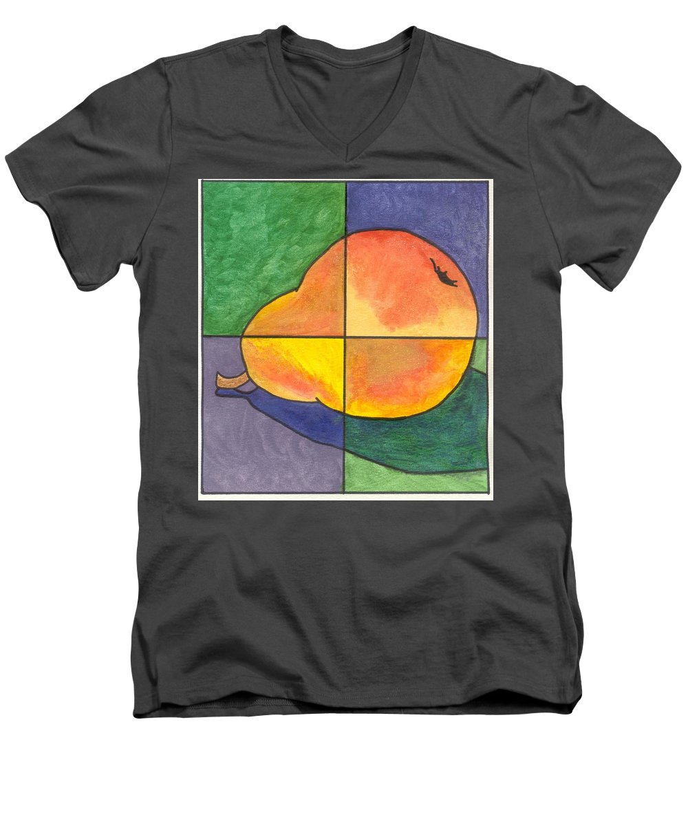 Pear Men's V-Neck T-Shirt featuring the painting Pear II by Micah Guenther