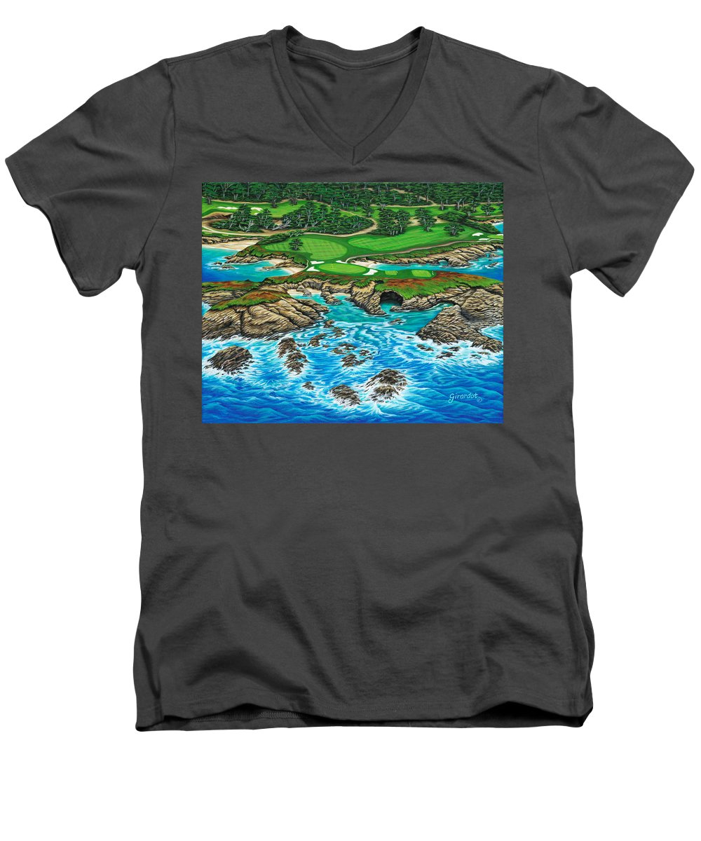 Ocean Men's V-Neck T-Shirt featuring the painting Pebble Beach 15th Hole-north by Jane Girardot