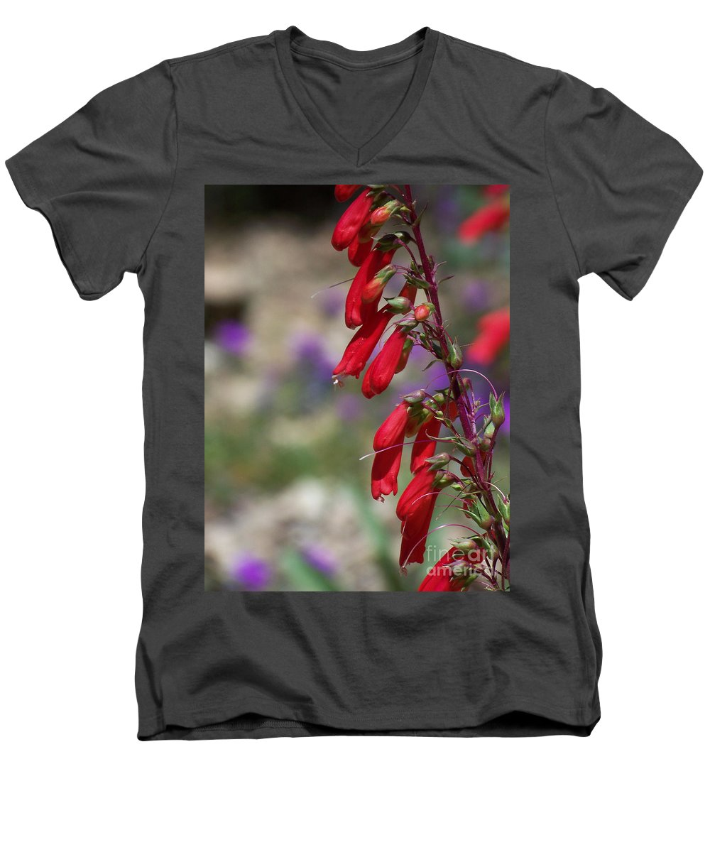 Flowers Men's V-Neck T-Shirt featuring the photograph Penstemon by Kathy McClure