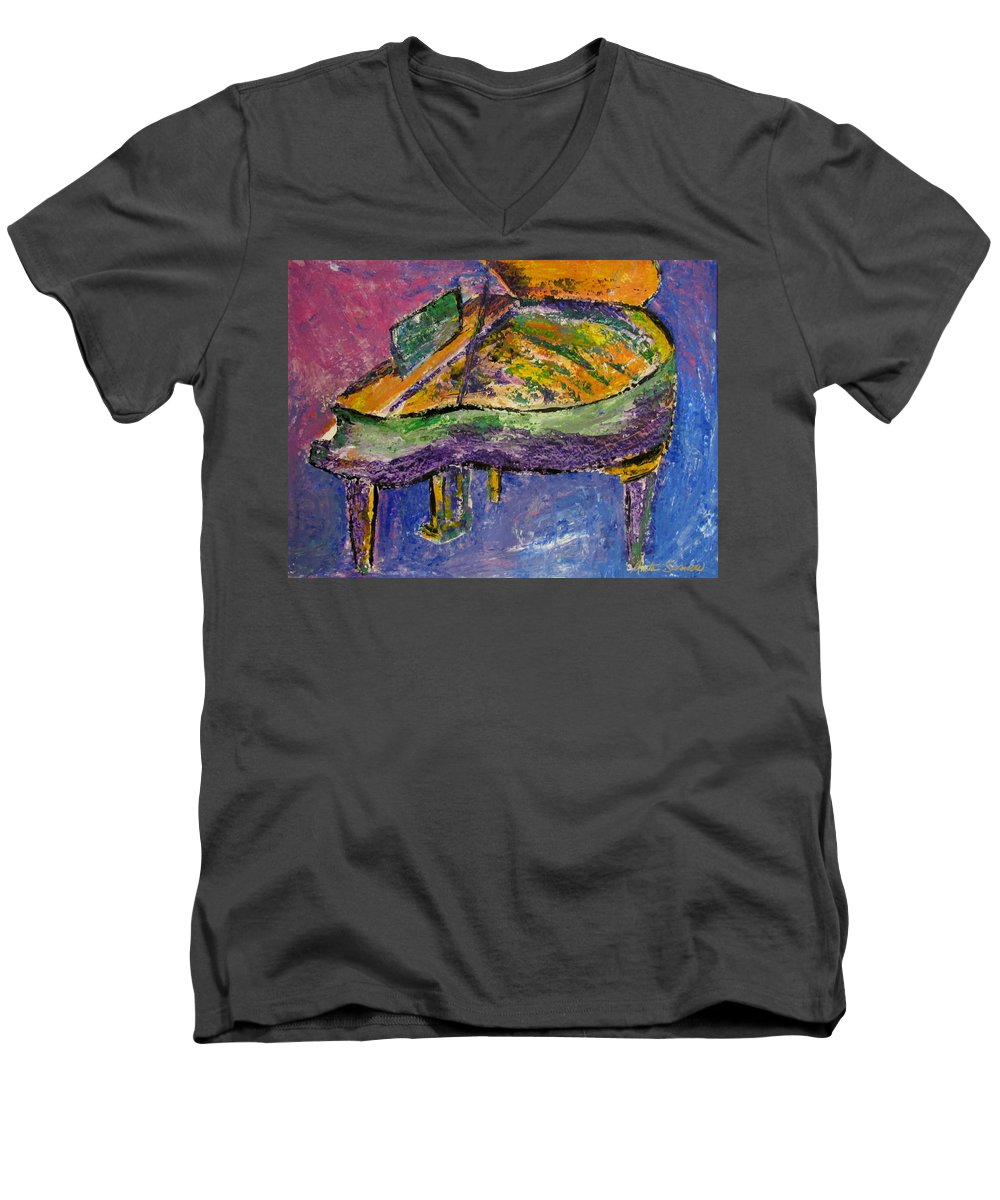 Impressionist Men's V-Neck T-Shirt featuring the painting Piano Purple by Anita Burgermeister
