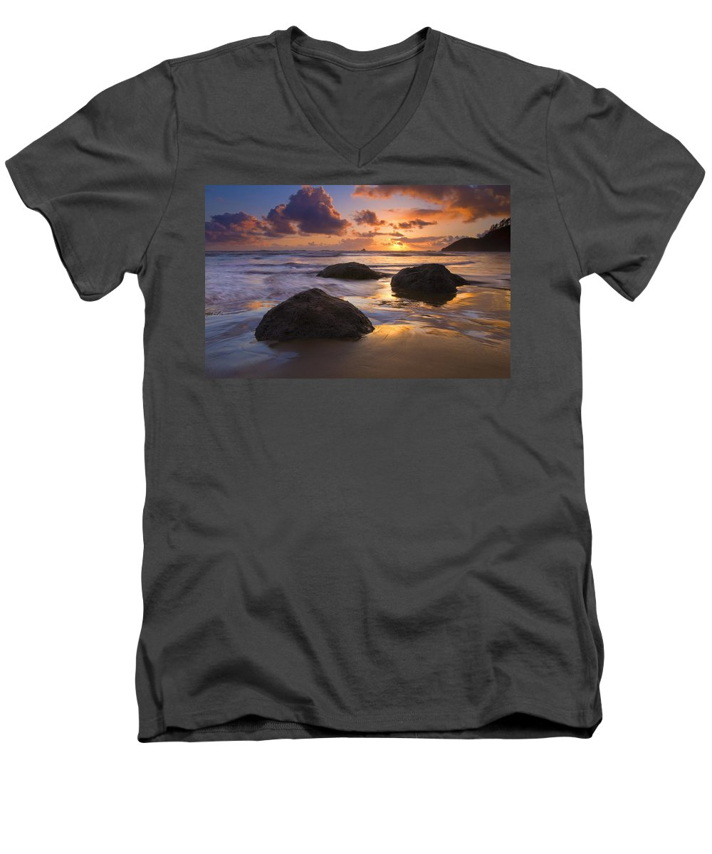 Sunset Men's V-Neck T-Shirt featuring the photograph Pieces Of Eight by Mike Dawson