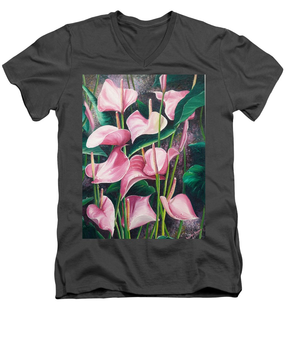 Floral Flowers Lilies Pink Men's V-Neck T-Shirt featuring the painting Pink Anthuriums by Karin Dawn Kelshall- Best