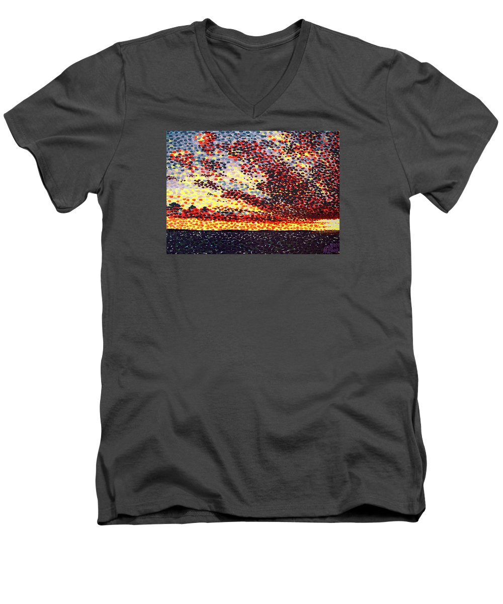 Plum Clouds Men's V-Neck T-Shirt featuring the painting Plum Clouds by Alan Hogan