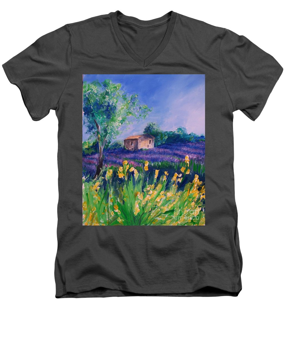 Floral Men's V-Neck T-Shirt featuring the digital art Provence Yellow Flowers by Eric Schiabor