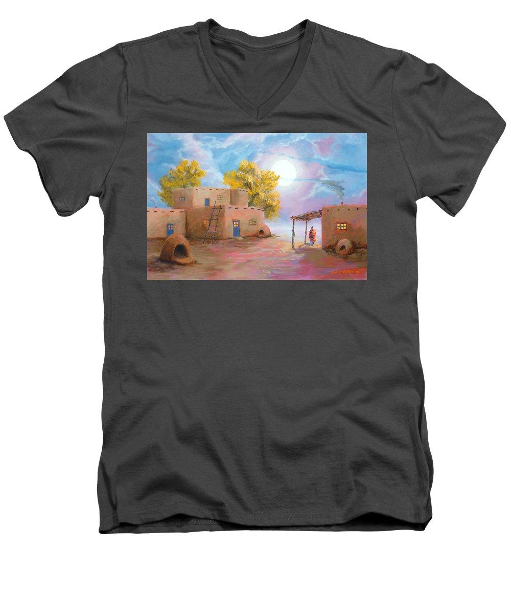 Pueblo Men's V-Neck T-Shirt featuring the painting Pueblo De Las Lunas by Jerry McElroy