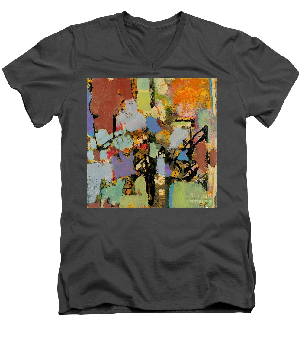 Landscape Men's V-Neck T-Shirt featuring the painting Quick Racing by Allan P Friedlander