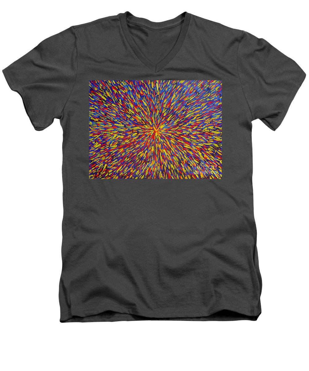 Abstract Men's V-Neck T-Shirt featuring the painting Radiation Blue by Dean Triolo