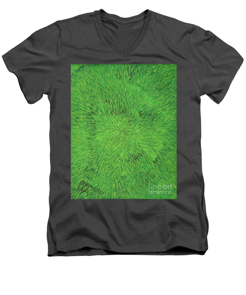 Abstract Men's V-Neck T-Shirt featuring the painting Radiation Green by Dean Triolo