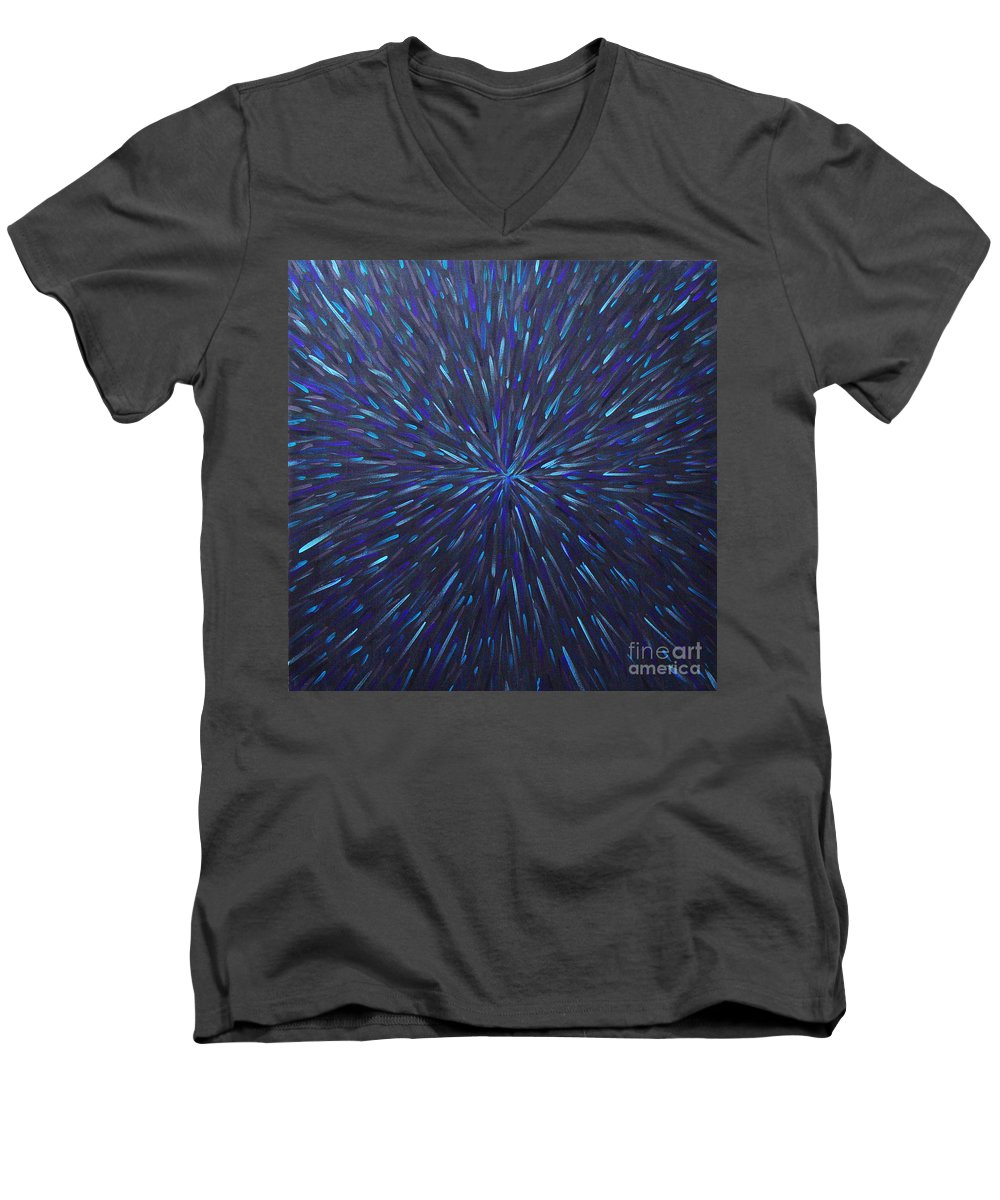 Abstract Men's V-Neck T-Shirt featuring the painting Radiation Grey by Dean Triolo