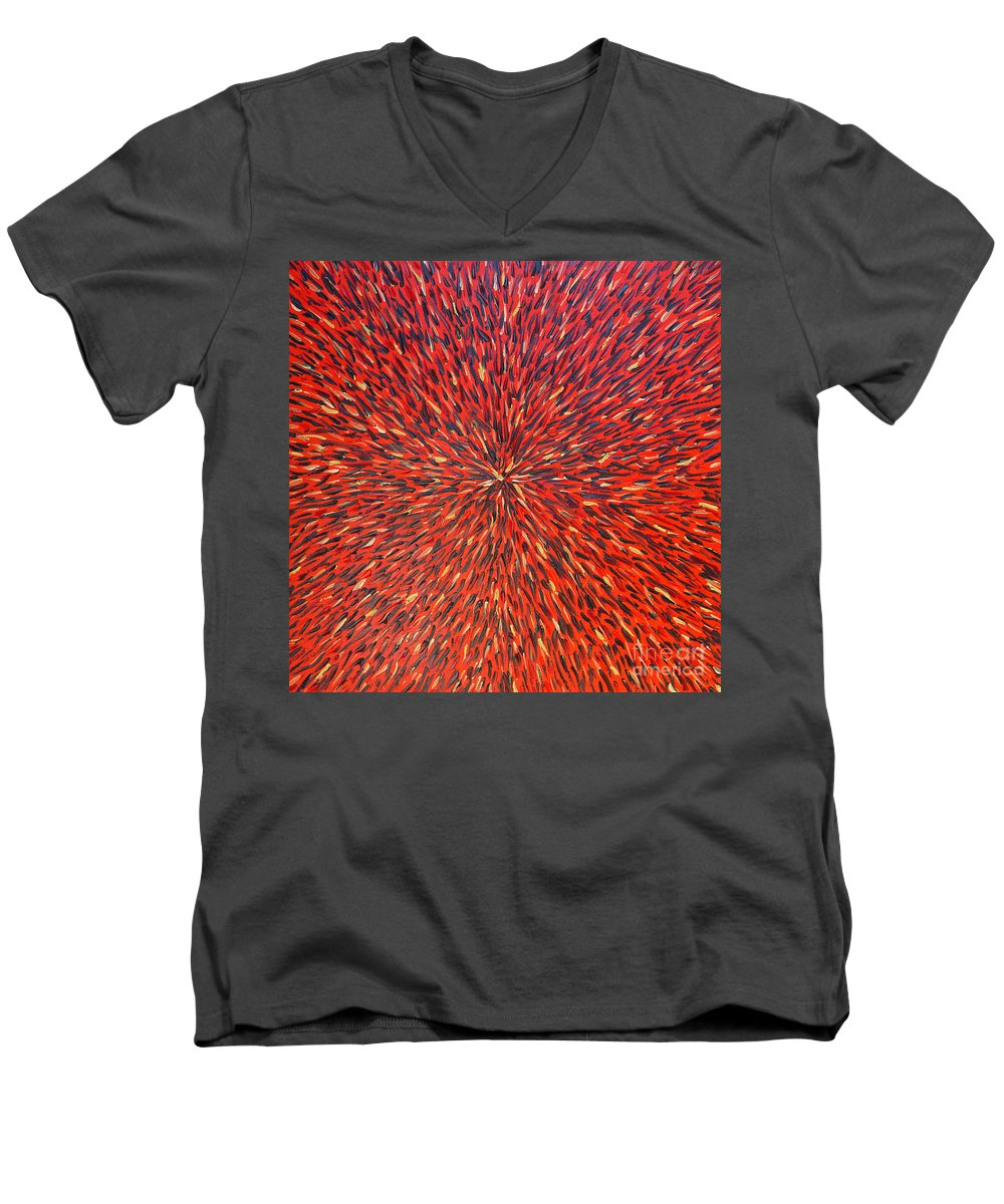Abstract Men's V-Neck T-Shirt featuring the painting Radiation Red by Dean Triolo