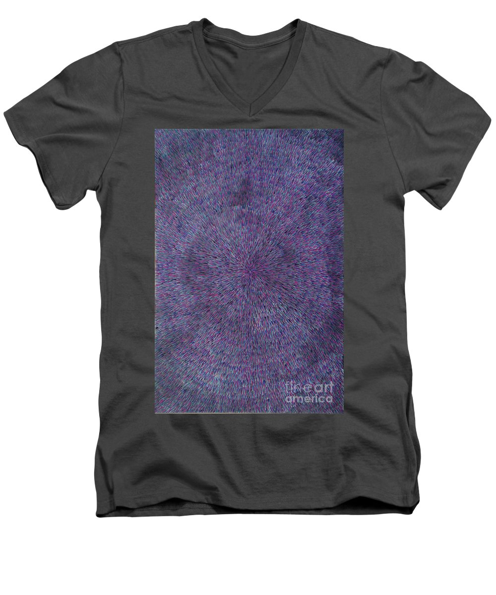 Abstract Men's V-Neck T-Shirt featuring the painting Radiation Violet by Dean Triolo