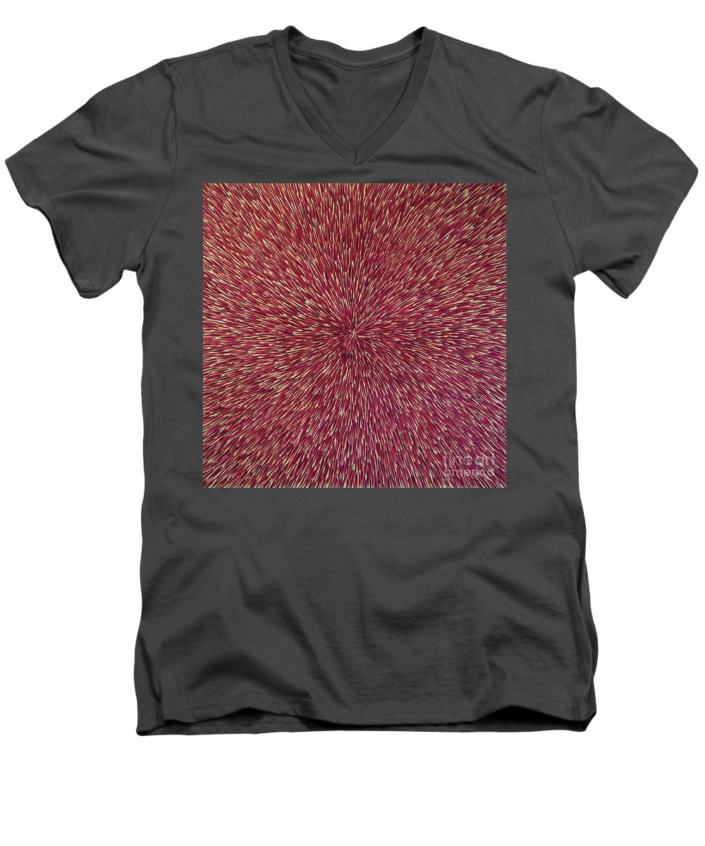 Abstract Men's V-Neck T-Shirt featuring the painting Radiation With Brown Magenta And Violet by Dean Triolo