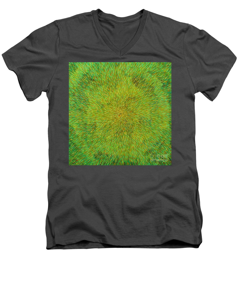 Abstract Men's V-Neck T-Shirt featuring the painting Radiation With Green Yellow And Orange by Dean Triolo