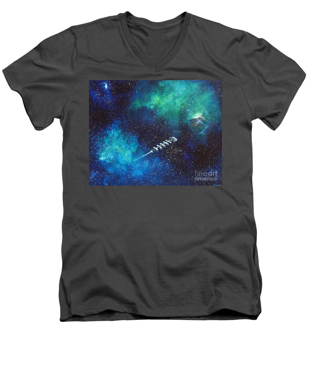 Spacescape Men's V-Neck T-Shirt featuring the painting Reaching Out by Murphy Elliott