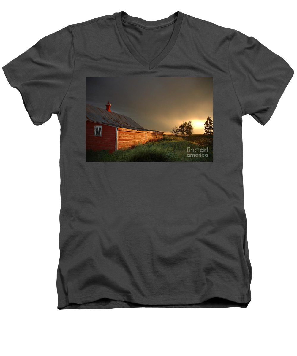 Barn Men's V-Neck T-Shirt featuring the photograph Red Barn At Sundown by Jerry McElroy