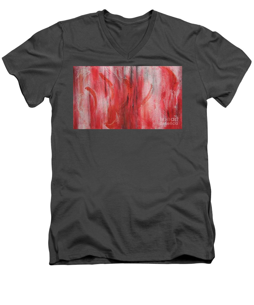 Abstract Men's V-Neck T-Shirt featuring the painting Red Sea by Silvana Abel