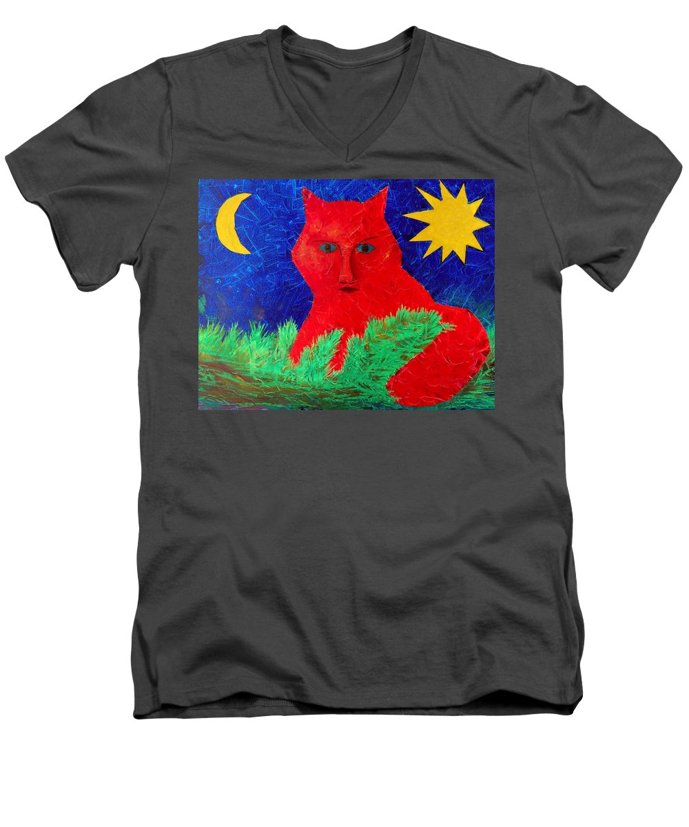 Fantasy Men's V-Neck T-Shirt featuring the painting Red by Sergey Bezhinets