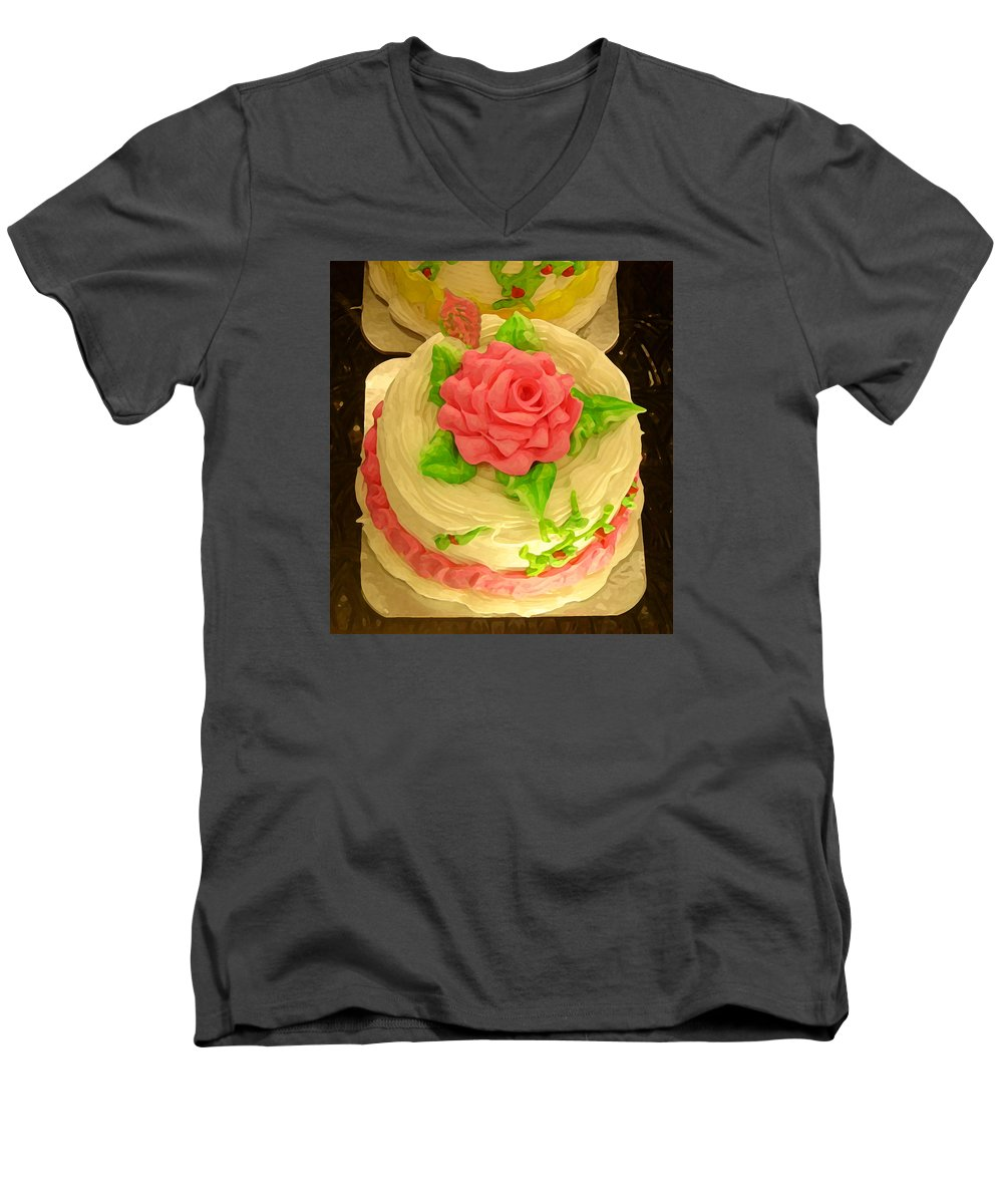 Food Men's V-Neck T-Shirt featuring the painting Rose Cakes by Amy Vangsgard