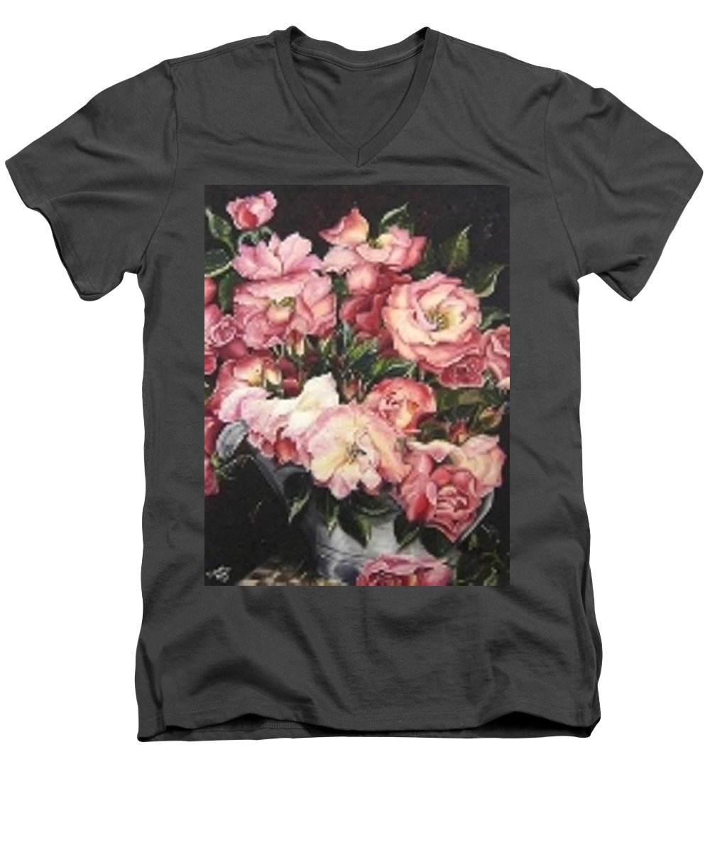 Pink Roses Floral Flowers Men's V-Neck T-Shirt featuring the painting Roses In A Watercan by Karin Dawn Kelshall- Best