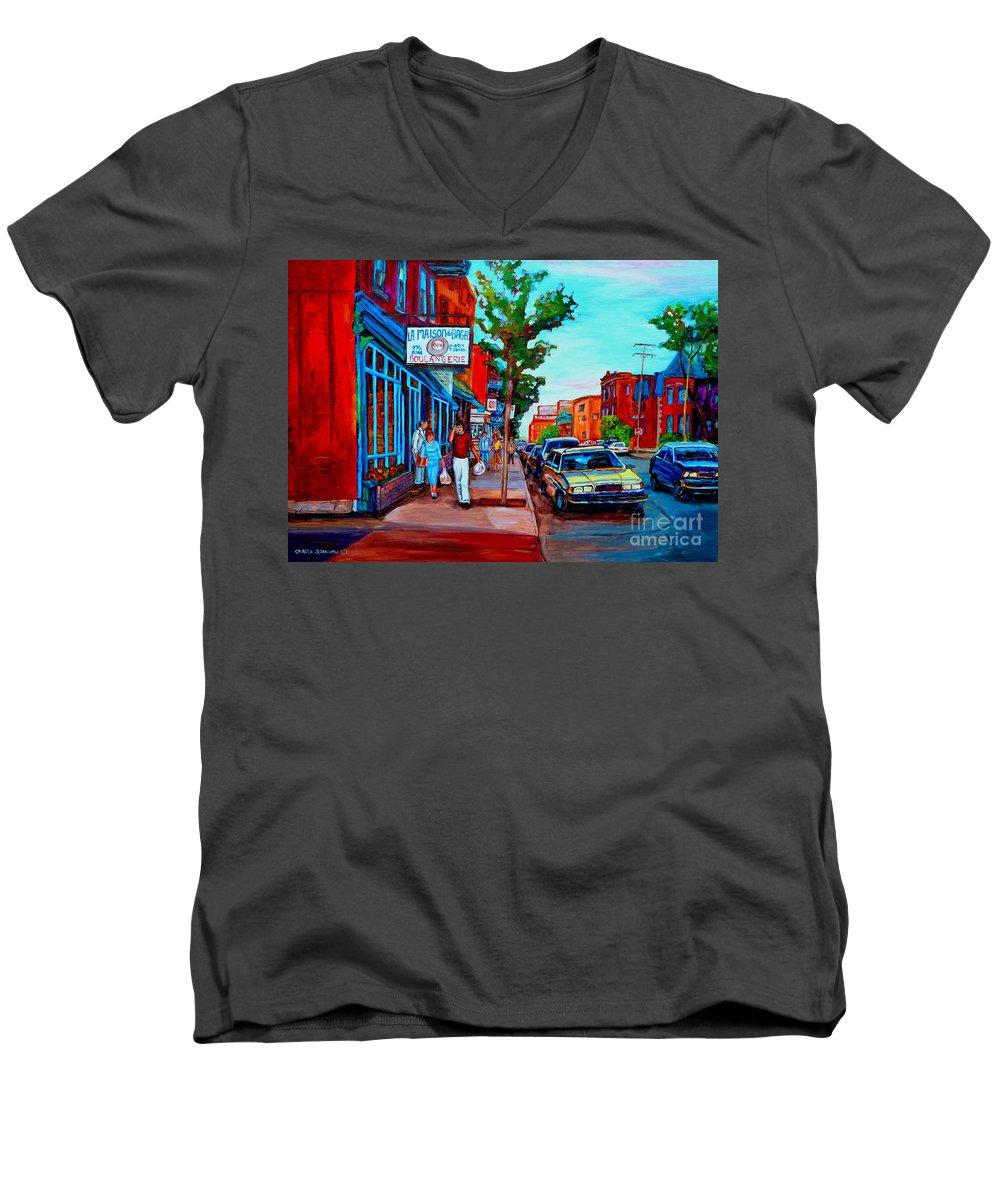 St.viateur Bagel Shop Men's V-Neck T-Shirt featuring the painting Saint Viateur Bagel Shop by Carole Spandau